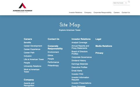 Screenshot of Site Map Page americantower.com - Site Map - captured May 8, 2019