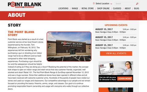 Screenshot of About Page shootpointblank.com - Story | Point Blank Shooting Range & GunShop - captured Aug. 14, 2017