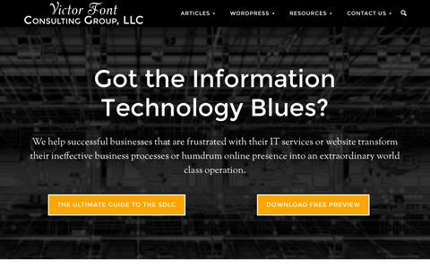 Screenshot of Home Page victorfont.com - Victor Font Consulting Group, LLC > IT Consulting   WordPress/Genesis/Formidable Pro   Publishing - captured Sept. 4, 2015