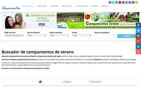 Screenshot of campamentos.info - Campamentos de verano - captured May 16, 2016