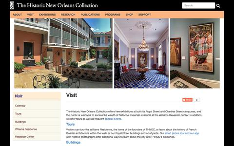 Screenshot of Maps & Directions Page hnoc.org - Visit | The Historic New Orleans Collection - captured Oct. 22, 2017
