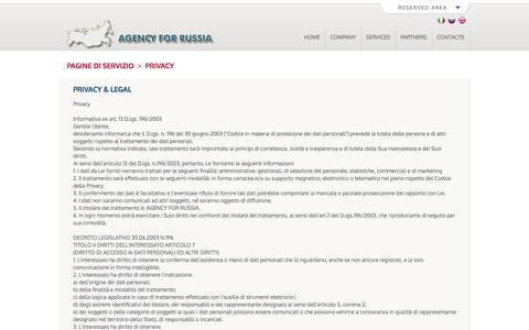 Screenshot of Privacy Page agencyforrussia.com - Agency for Russia - Privacy & Legal - captured Oct. 4, 2014