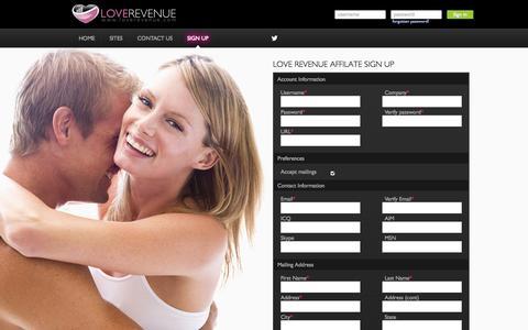 Screenshot of Signup Page loverevenue.com - Love Revenue - captured Sept. 23, 2014