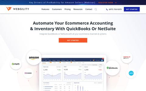 Screenshot of Home Page webgility.com - Ecommerce Accounting and Inventory Automation Software - Webgility - captured Oct. 1, 2019