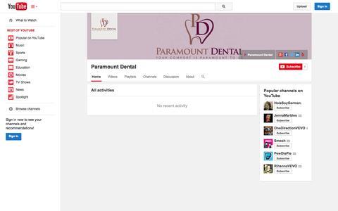 Screenshot of YouTube Page youtube.com - Paramount Dental  - YouTube - captured Oct. 22, 2014