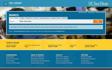 UC San Diego Library Home Page