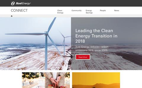 Screenshot of Press Page xcelenergy.com - Home | Connect Blog | Xcel Energy - captured Jan. 1, 2019