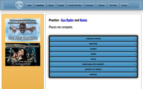 Screenshot of Locations Page lakeshoreswimclub.com - Locations and Directions - captured Sept. 27, 2014