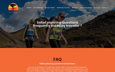 Screenshot of FAQ Page ombeniafricansafaris.com - Safri planning question those are asked by a safari traveller. - captured Oct. 19, 2018