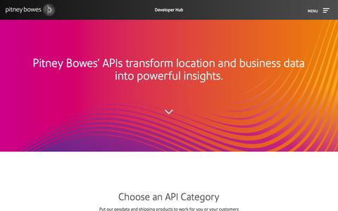 Screenshot of Developers Page pitneybowes.com - Pitney Bowes Developer Hub - captured July 3, 2016