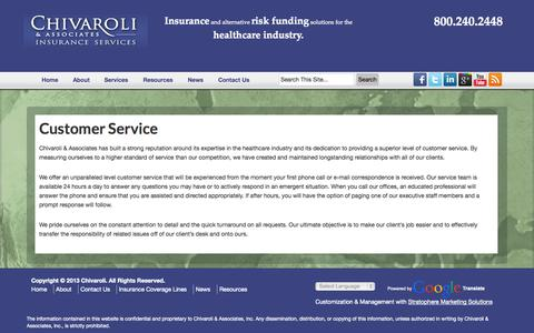 Screenshot of Support Page chivaroli.com - Customer Service | Chivaroli & Associates - captured Oct. 2, 2014