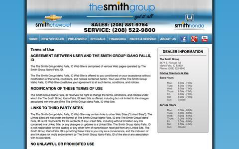 Screenshot of Terms Page thesmithgroup.com - The Smith Group | New Used Car | Honda Chevrolet | Idaho Falls - captured Oct. 26, 2014