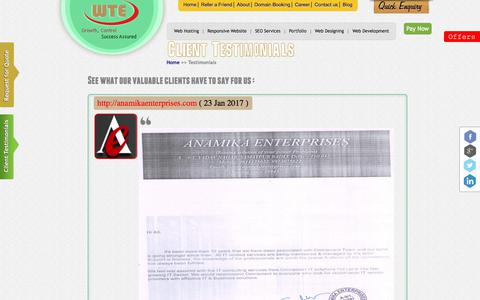 Screenshot of Testimonials Page webtechnoexperts.com - Client Testimonials - Web Techno Experts - captured July 7, 2017