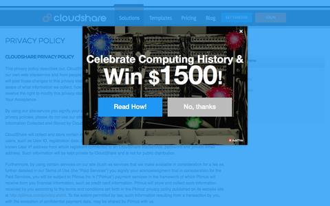 Screenshot of Privacy Page cloudshare.com - Privacy Policy | CloudShare - captured Nov. 14, 2015