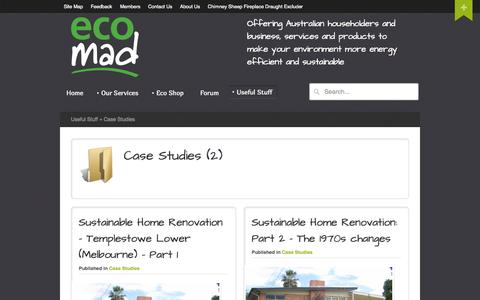 Screenshot of Case Studies Page ecomad.com.au - Case Studies - Ecomad - captured Oct. 3, 2014