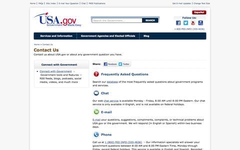 Screenshot of Contact Page usa.gov - Contact Us   USA.gov - captured Oct. 27, 2014