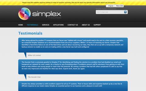 Screenshot of Testimonials Page simplex-solutions.com - Testimonials | Simplex Solutions - captured Nov. 13, 2017