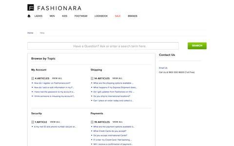 Screenshot of FAQ Page fashionara.com - FASHIONARA          Portal - captured Sept. 18, 2014