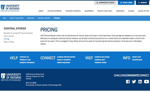 Screenshot of Pricing Page uoit.ca - Pricing   UOIT - Central Stores - captured Jan. 31, 2016