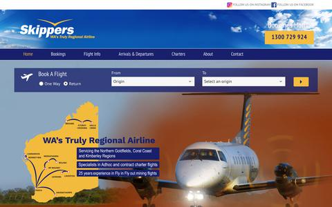 Screenshot of Home Page skippers.com.au - Home - Skippers Aviation - captured Oct. 21, 2017