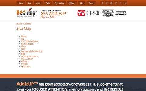 Screenshot of Site Map Page addieup.com - Site Map - AddieUP - captured Sept. 19, 2014