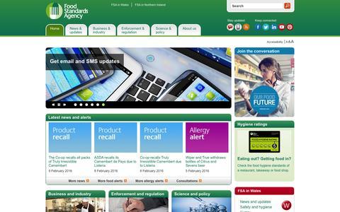 Screenshot of Home Page food.gov.uk - Food Standards Agency - Homepage - captured Feb. 10, 2016