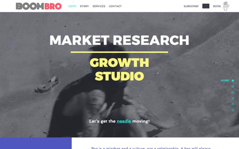 Screenshot of Home Page boombro.co - BoomBro | Research & Growth For Startups - captured July 8, 2018