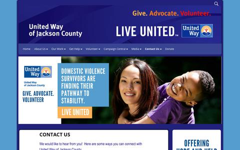 Screenshot of Contact Page uwjackson.org - Email and Contact Information United Way of Jackson County   United Way of Jackson County - captured Oct. 19, 2017