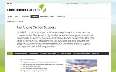 Screenshot of Services Page firstchoicecarbon.com - Global Carbon Emissions | One Stop Shop | Support Service - captured Oct. 6, 2014