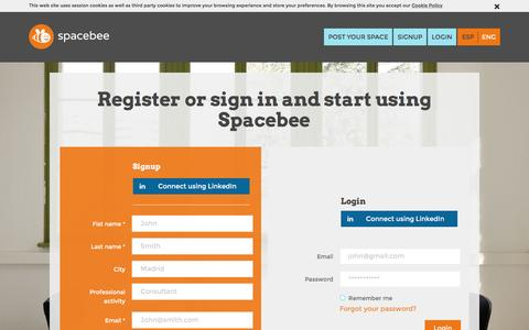 Screenshot of Signup Page spacebee.com - Spacebee | Register or sign in and start using Spacebee - captured Jan. 11, 2016
