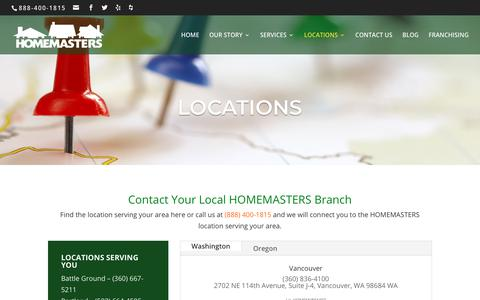 Screenshot of Locations Page homemasters.com - Locations | HOMEMASTERS - captured Sept. 29, 2018