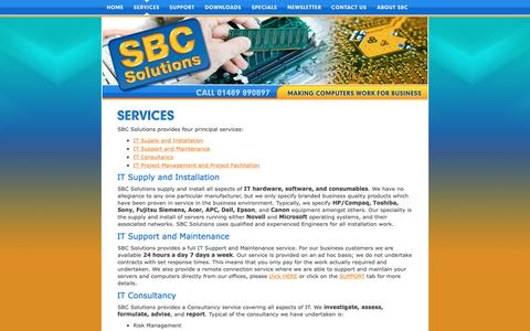 Screenshot of Services Page sbc-solutions.co.uk - it consultancy uk, it services support uk, it maintenance - captured Oct. 1, 2018