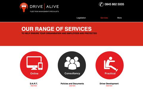 Screenshot of Services Page drivealive.co.uk - Drive Alive | Fleet Risk Management | Services - captured Feb. 6, 2018