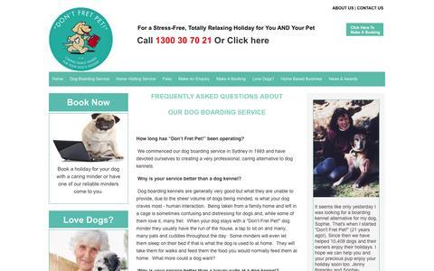 Screenshot of FAQ Page dontfretpet.com.au - Dog Boarding FAQs - captured Jan. 20, 2016