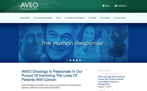 Screenshot of Home Page aveooncology.com - Aveo - captured Sept. 13, 2014