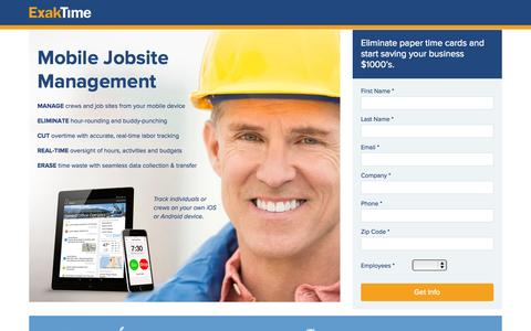 Screenshot of Landing Page exaktime.com - Job Site Time Clocks - captured Oct. 1, 2015