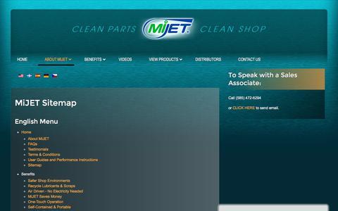 Screenshot of Site Map Page mijet.com - MiJET Sitemap - captured Sept. 20, 2018