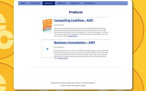 Screenshot of Products Page compellingcashflow.com - Products - - captured April 18, 2016