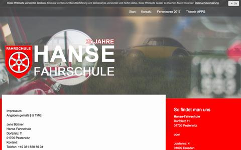 Screenshot of About Page jimdo.com - Impressum - hanse-fahrschules Webseite! - captured March 31, 2017