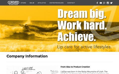 Screenshot of About Page lipzipz.com - About Us — LipZipz | No Loss Lip Care - captured Oct. 2, 2014