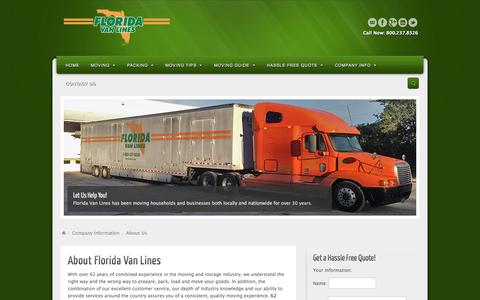 Screenshot of About Page flvanlines.com - About Us - Florida Van Lines - captured Oct. 8, 2014
