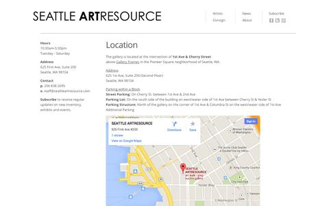 Screenshot of About Page Maps & Directions Page seattleartresource.com - ARTRESOURCE - captured Oct. 23, 2014