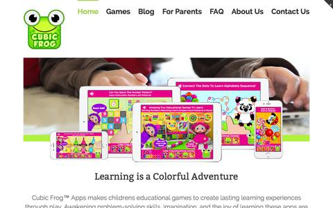 Screenshot of Home Page cubicfrog.com - Cubic Frog™ Apps - Childrens Educational Games - captured Sept. 18, 2015