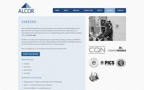 Screenshot of Jobs Page alcorfacilities.com - Alcor Facilities Management | Careers | Alberta - captured Oct. 4, 2014