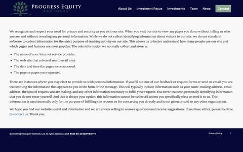 Screenshot of Privacy Page progressequity.com - Privacy Policy – Progress Equity Partners, LTD - captured Sept. 30, 2018