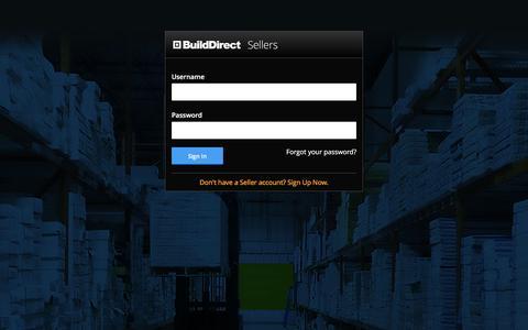 Screenshot of Login Page builddirect.com - BuildDirect Seller Portal - captured July 3, 2016