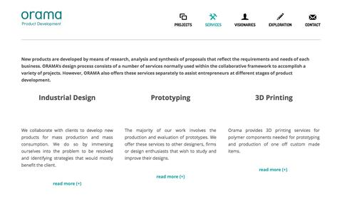 Screenshot of Services Page oramacreations.gr - services – Orama - Product Development - captured Oct. 26, 2014