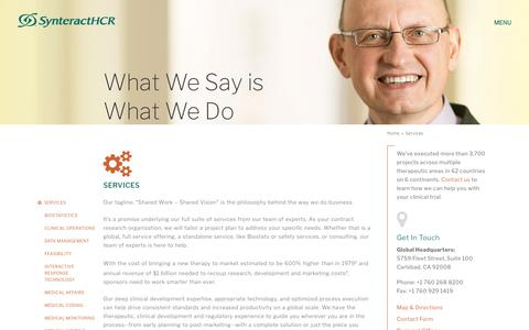 Screenshot of Services Page synteracthcr.com - Contract Research Organization Services   SynteractHCR - captured July 18, 2017