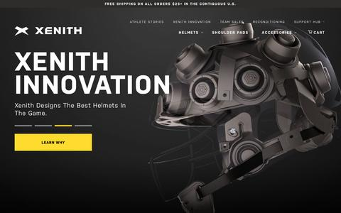 Screenshot of Home Page xenith.com - Football Helmets, Shoulder Pads, Facemasks | Xenith - captured Nov. 15, 2018