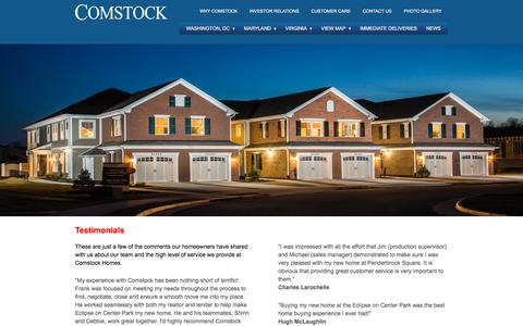 Screenshot of Testimonials Page comstockhomes.com - Testimonials   Comstock Homes - captured July 9, 2017